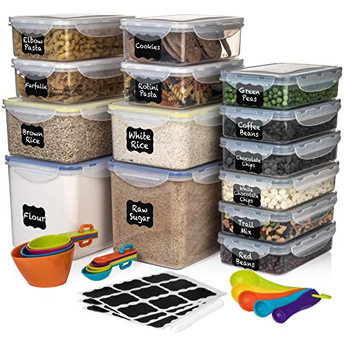 WIDE DEEP Food Storage Plastic Containers 28 pc (Set of 14) - FREE 14 Measuring Cups + 27 labels & Marker - Airtight, Leakproof, BPA Free - BEST Airtight Kitchen + Pantry Bulk Food Canisters - BUNDLE