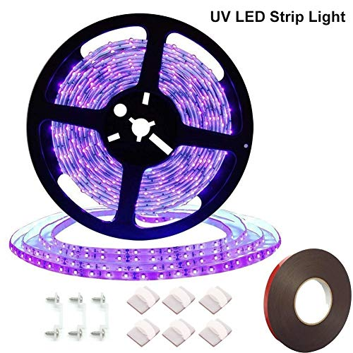 UV/Ultraviolet Black Lights LED Strip 300 LEDs 16.4Ft/5M 3528 Flexible Non-Waterproof Backlights Purple Light, for Indoor Party, Body Paint, Wedding, Work with DC12V Power Supply(Not Included)
