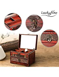 Retro Antique Flower Carved Wooden Jewelry Storage Box Container Case Jewelry Display Organizer with Lock Gift