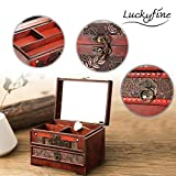 LUCKYFINE Retro Antique Flower Carved Wooden Jewelry Storage Box Container Case Jewelry Display Organizer with Lock Gift