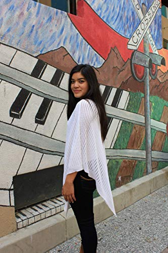 Airy Poncho, Women's Tall, Mesh Poncho, Summer Wrap, White