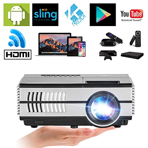 LCD Mini WiFi Projector 1500 Lumens, Multimedia Home Theater Video Projector Android Support 1080P HDMI Wireless Projectors for iPhone iPad Laptop, Game-Playing Halloween Party Outdoor Movie Night ()
