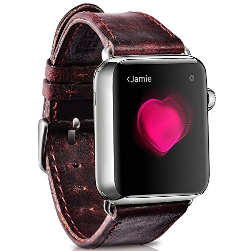 Apple Watch Band 42mm Series 2,Series 3, Series 1, Moyooo iWatch Band 42mm Leather, Vintage Genuine Leather Replacement Watchband With Secure Metal Clasp Buckle (42mm, Redwine) by Moyooo