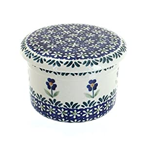Blue Rose Polish Pottery Blue Daisy French Butter Dish
