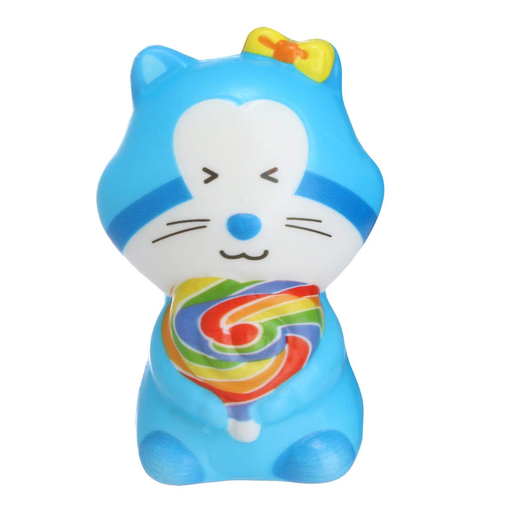 Dianli Squishies Toy Cute 3 Colors Cat Slow Rising Scented Sweet Stress Anxiety Relief Kids Toys Doll Gift Fun Collection Children's Kitchen Toys