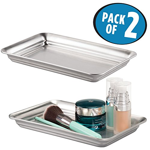 mDesign Storage Organizer Tray for Bathroom Vanity Countertops, Closets and Dressers – Holder for Watches, Earrings, Makeup Brushes, Reading Glasses, Perfume - Pack of 2, Brushed Stainless Steel (Holder Tray Top)