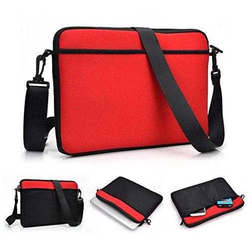 Kroo uneversal Messenger/Sleeve Tasche mit Zubehör Tasche und Schulterriemen passt für Gigabyte P34G grau grau rot