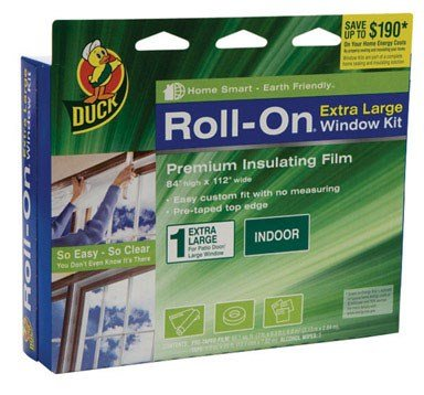 Duck Brand Roll-On Indoor Extra Large Window/Patio Door Premium Insulating Film Kit, 84-Inch x 112-Inch, 285649