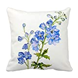 fine patio cover design ideas Yutoa-Design Delphinium Blue fine Art Floral Square Pillow Cover Sofa Home Decorative Throw Pillow Case Gift Ideas Household Zippered Cushion Covers 18X18Inch