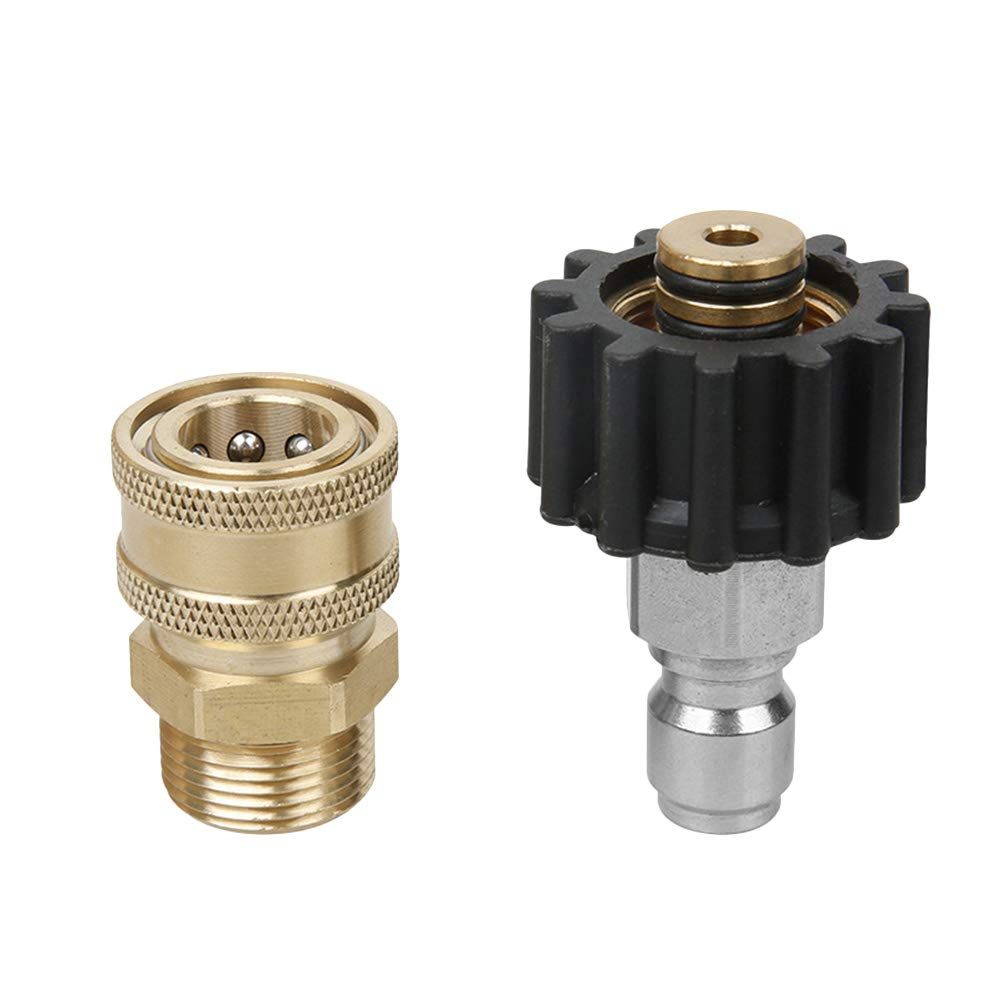 Yardwe Pressure Washer Adapter Set 3/8'' Quick Connect Kit,M22 14mm Swivel to M22 Metric Fitting Solid Brass Quick Coupler Set