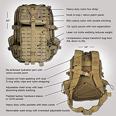 Gearrific Tactical Backpack with Hydration Bladder + Shovel + Paracord Combo - 40L Military Rucksack Molle Bug Out Bag for Fishing, Camping, Survival