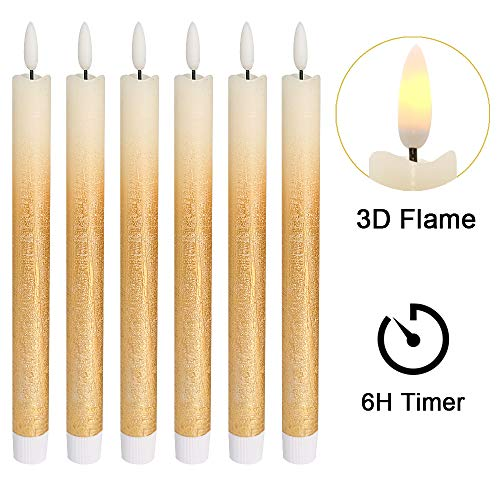 - DRomance LED Flameless Taper Candles Battery Operated with 6 Hour Timer, Set of 6 Real Wax Warm Light 3D Wick Flickering Window Candles 0.78