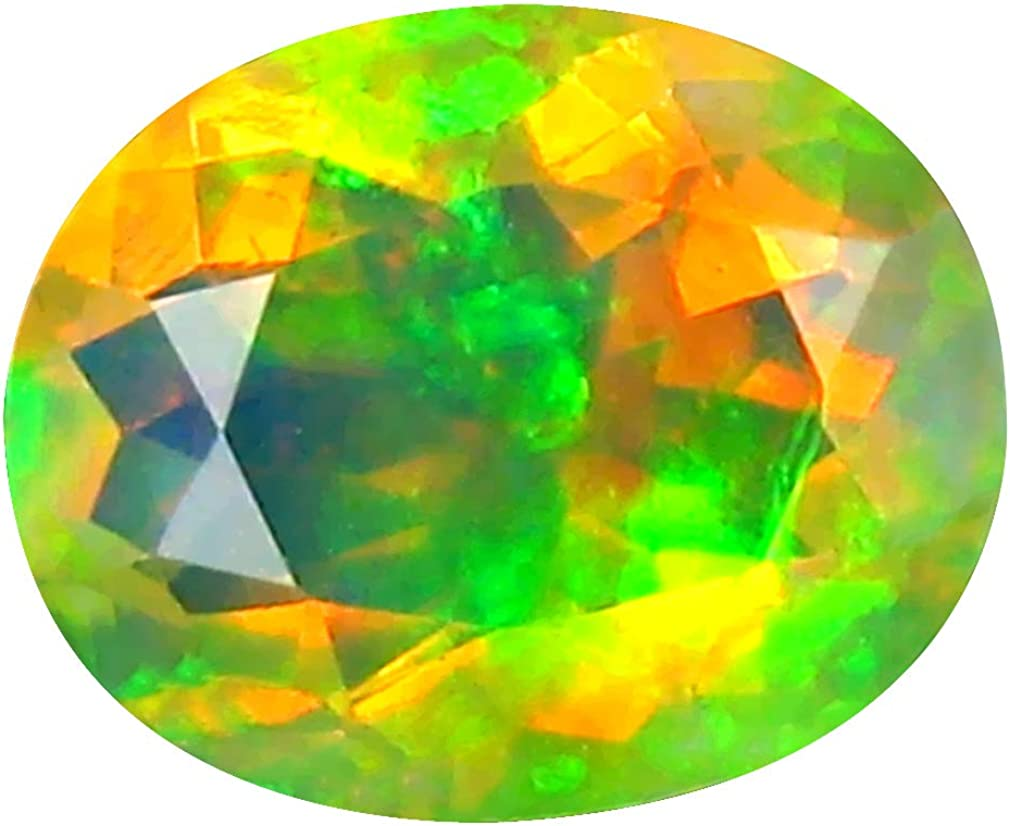 1.79 Ct Aaa+ Grade Premium Gem Quality Oval Schnitt (10 X 8 Mm) Un-Heated Ethiopian Rainbow Opal Genuine Loose Gemstone