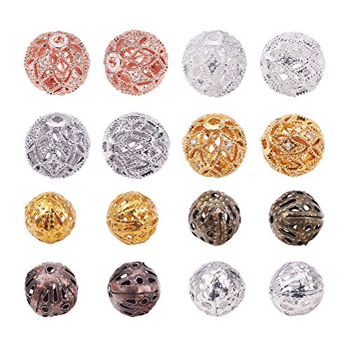 (PH PandaHall 8pcs 4 Color 10mm Brass Cubic Zirconia Beads & 8pcs 4 Color 8mm Iron Round Filigree Beads Hollow Ball Metal Spacer Beads for DIY Necklace Charm Bracelet Jewelry Making)