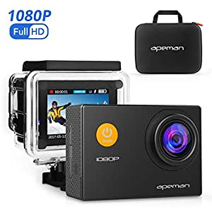 APEMAN Action Camera, 12 MP Full HD 1080P Waterproof Underwater Cam with 170 Wide-Angle Lens and Rechargeable Battery, Including Waterproof Case and Portable Package