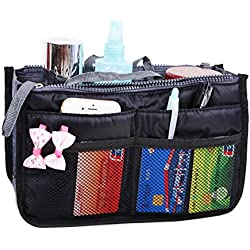 JET-BOND(TM) XB001 Nylon Handbag Insert Pouch Organizer Large Liner Purse with Zippers Handles Multi-function Cosmetic Storage Foldable Tote Inner Bag (Black)