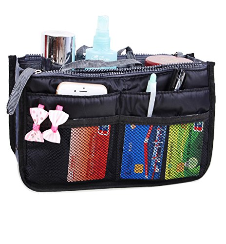 JET-BOND(TM) XB001 Nylon Handbag Insert Pouch Organizer Large Liner Purse with Zippers Handles Multi-function Cosmetic Storage Foldable Tote Inner Bag (Black) (Bag Purse Zipper)