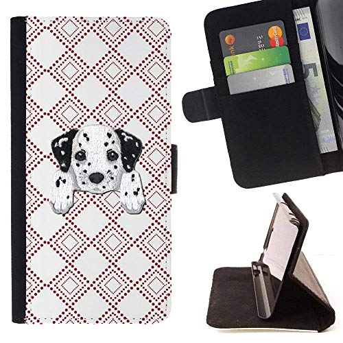 Dalmatian Embroidery ([ Dalmatian Retriever ] Embroidered Cute Dog Puppy Leather Wallet Case for Apple iPhone SE / 5 / 5S [ Checkered Square Red Pattern ])