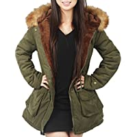 4HOW Womens Parka Hooded Warm Jacket Winter Coat Lined Faux Fur Parkas Outdoor