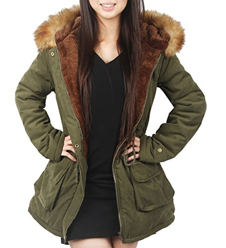 4HOW Womens Parka Coat Winter Long Jacket Hooded Warm Outdoor Army Green Size 8