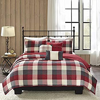 Image of AD 6 Piece Red Grey Plaid Full Queen Quilt Set, White Checkered Lodge Cabin Holiday Themed Bedding, Tartan Madras Lumberjack Striped Line Pattern Squares, Horizontal Vertical Stripes, Cotton