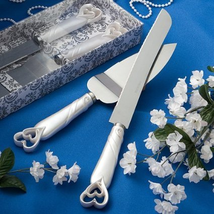 Interlocking hearts design cake knife/server set- 1 (Knife Wedding Favors)