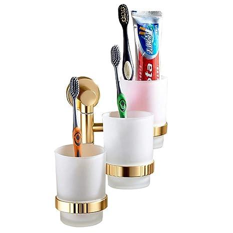 Bathone copas de oro cepillo de baño pared del baño cepillo de dientes titular de cepillo