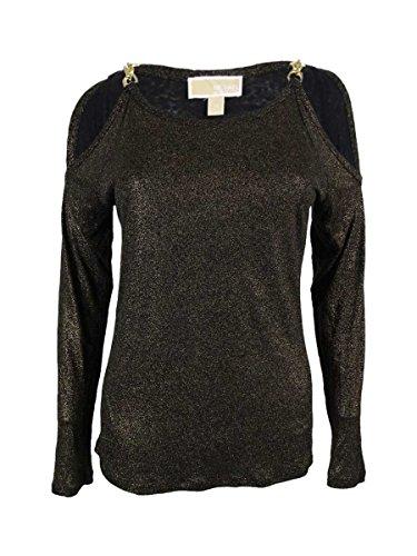 Michael Kors Women's Linen Blend Cold Shoulder Metallic Top (S, - Gold Michael Top Kors