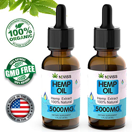 (2 Pack) Organic Hemp Oil Tincture 5000mg for Pain Relief