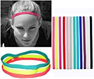 12Pcs Sports Headbands Slim Hairband,Elastic Anti-Slip,Thin Skinny Bands with Silicone Lined Sweatband for Wom