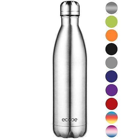 Ecooe Botella térmica de acero inoxidable (750 ml) para bebidas frías y calientes (plata)