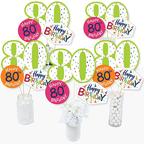 (80th Birthday - Cheerful Happy Birthday - Colorful Eightieth Birthday Party Centerpiece Sticks - Table Toppers - Set of)