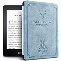 MOCA Vintage Auto Wake Sleep Smart Folio flip case Cover Compatible for All Kindle Paperwhite 10 th 10th Gen Generation 2018 Release Smart Flip Cover case (Paperwhite 10th Generation, Aqua Blue)