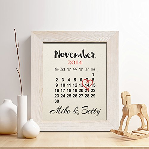 Personalized 2nd Cotton Anniversary Gift for Him or Her, Wedding Date Calendar Cotton Print, Gifts for Husband and Wife, 2 Years Together
