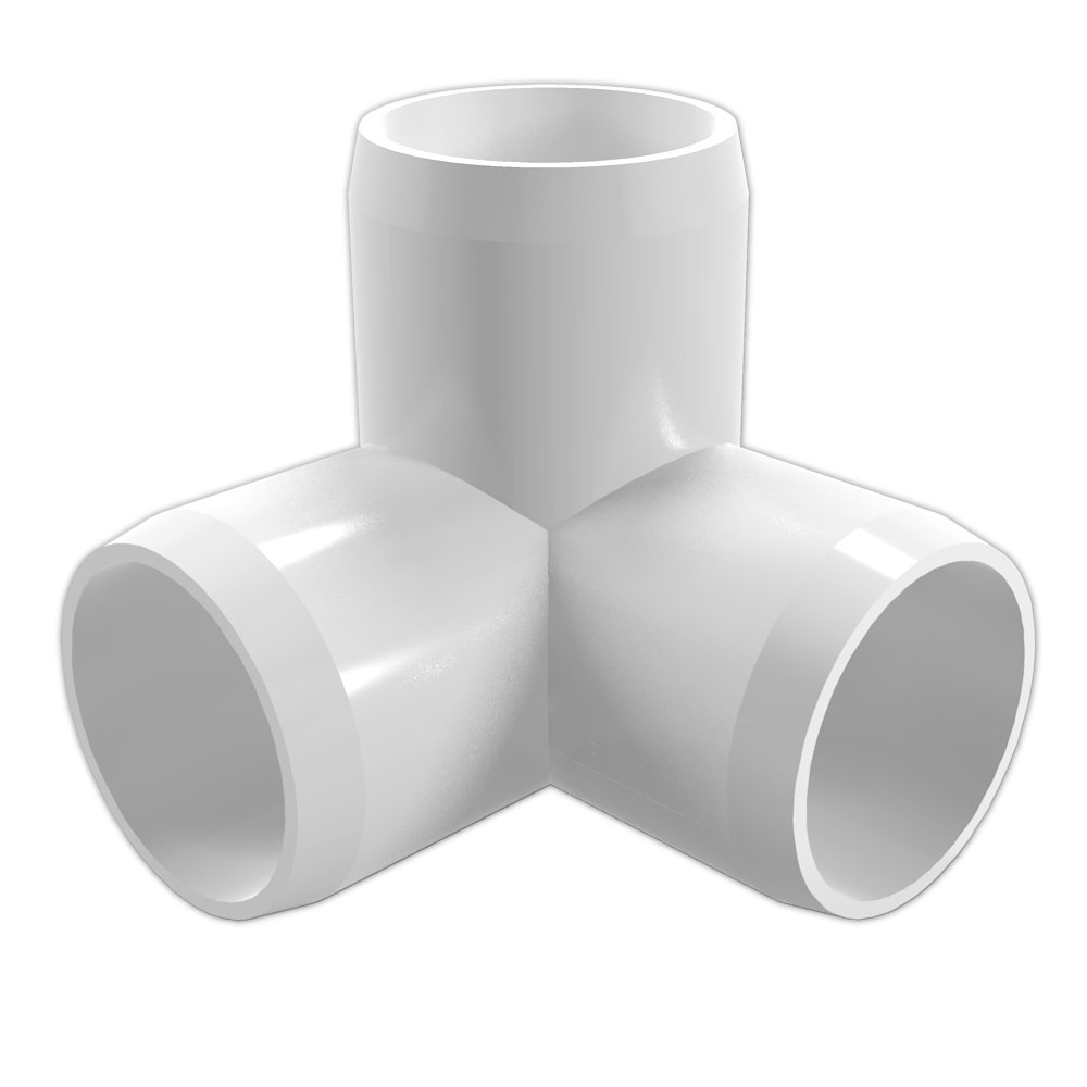 "FORMUFIT F0343WE-WH-8 3-Way Elbow PVC Fitting, Furniture Grade, 3/4"" Size, White (Pack of 8)"