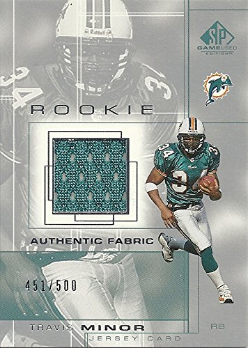 TRAVIS MINOR AUTHENTIC FABRIC JERSEY CARD - 2001 UPPER DECK SP GAME USED EDITION FOOTBALL CARD #98 (SERIAL NUMBERED 451/500 - ROOKIE CARD) MIAMI DOLPHINS - FREE ()