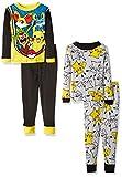 Pokemon Big Boys' Pikachu 4-Piece Cotton Pajama Set, Black/Grey, 8