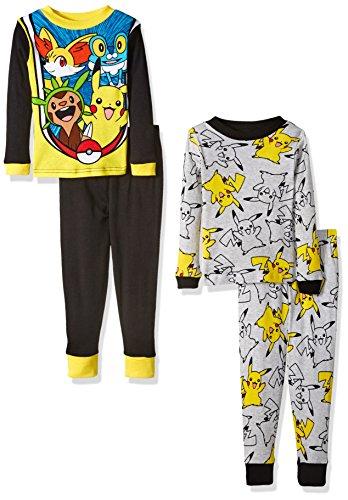 Pokemon Little Boys' Pikachu 4-Piece Cotton Pajama Set, Black/Grey, 4 ()