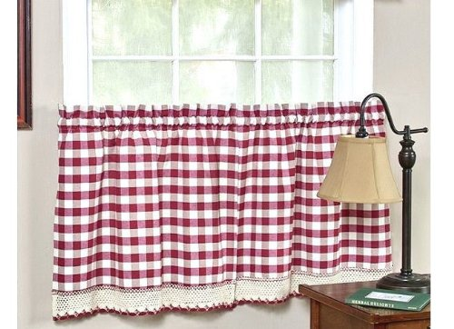 Achim Buffalo Check Blend Tier Curtain Panels (Set of 2) from Achim