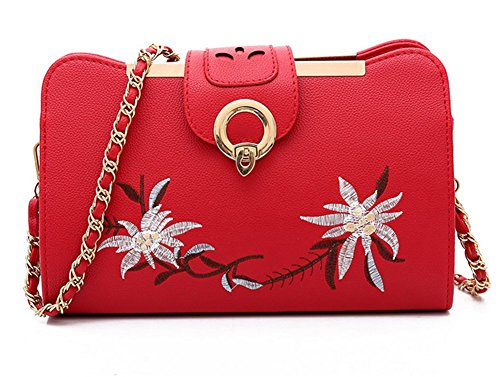 Phone Messenger Shoulder Bag Five Chain Bag Colors Handbag Cute Mini Woman Flower Red Rrock Sweet Bag xPWqOS8w5n