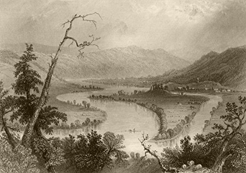 View on the Susquehanna (above Owego), New York. WH BARTLETT - 1840 - old print - antique print - vintage print - New York art prints