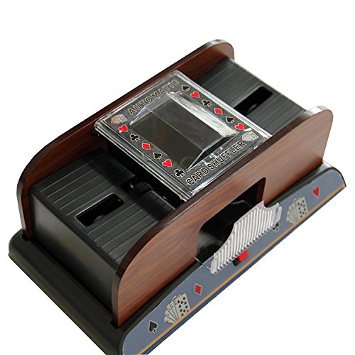 THY COLLECTIBLES 1-2 Deck Deluxe Automatic Wooden Card Shuffler For Poker / Blackjack / Casino Card Games by THY COLLECTIBLES