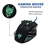 Gaming Mouse, Wired Ergonomic Mouse, iXCC USB Gaming Mouse Extremely Responsive [1000 / 1600 / 2400 / 3200 / 5500 DPI Free to Adjust] with 7 Buttons - Black