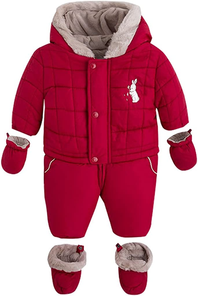 Baby Snowsuits Hooded Rompers Winter Outfits Infant Toddler Outerwear for Boys