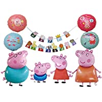 Peppa Pig Birthday Balloons,Peppa Pig Banner, Peppa Pig Party Decorations,Peppa Pig Party Supplies, Set