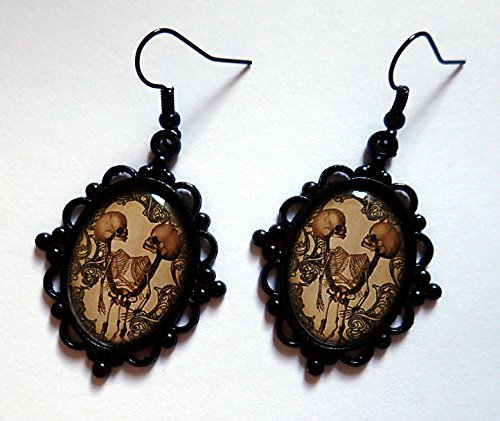 Black Framed Conjoined/Siamese Twin Skeleton Cameo (Siamese Twin Costumes)