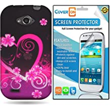 CoverON ZTE Savvy Hard Plastic Slim Case Cover Bundle with Clear Anti-Glare LCD Screen Protector - Purple Love Heart
