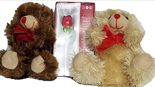 Love Glass Bear (Glass Red Rose With 2-5
