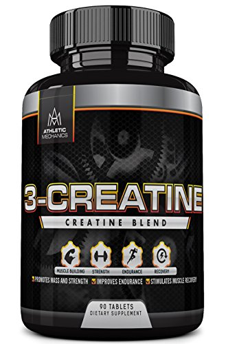 Athletic Mechanics - 3-Creatine - Blend of Three Types of Creatine - Builds Muscles - Increases Strength - Enhances Recovery & Endurance - Supports Protein Synthesis - 90 Tablets
