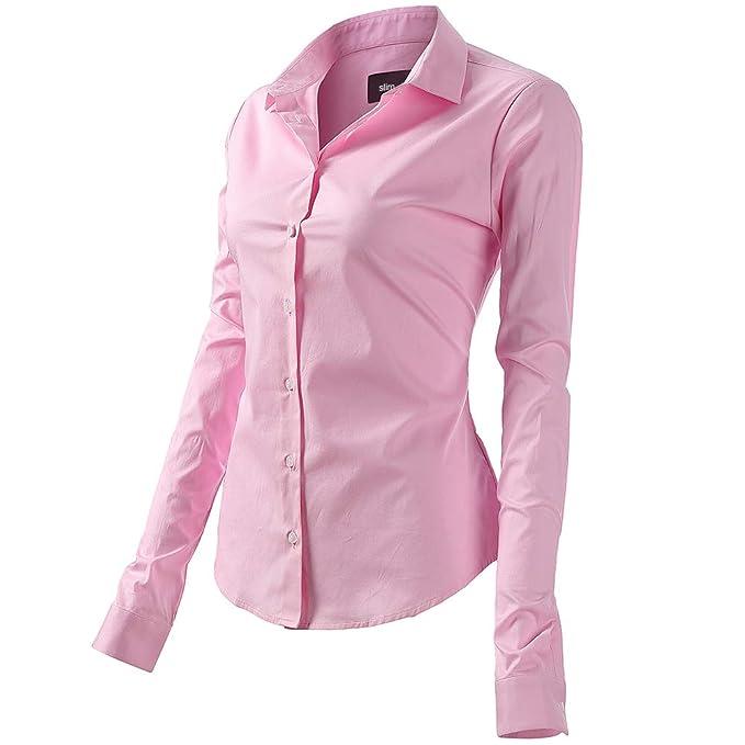 Mujer Camisa Básica de Algodón - Camisa Blusa Casual de Algodón de Manga Larga Informal con Cierre de Botón Delgado Formal, Ideal para Oficina/Trabajo/Entrevista